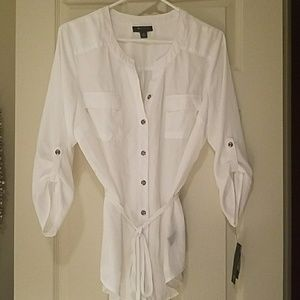 White button up shirt ~ 3/4 sleeves